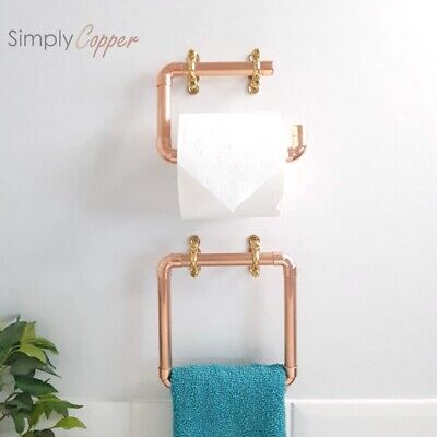 Copper Toilet Roll Holder & Towel Ring + Brass Fittings - Handmade, Pure Copper