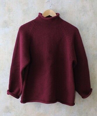 Vintage 90s J CREW Wine Colored Rolled Neck Cozy TUNIC SWEATER M