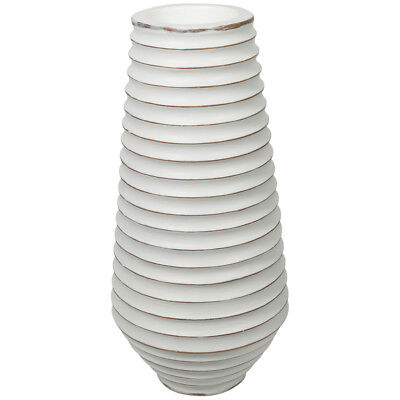 NEW Distressed White Maui Ribbed Resin Planter Lifestyle Traders Planters
