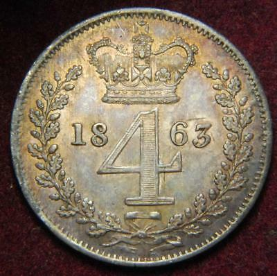 GB Victoria silver Maundy fourpence 4d 1863 - NICE!!!