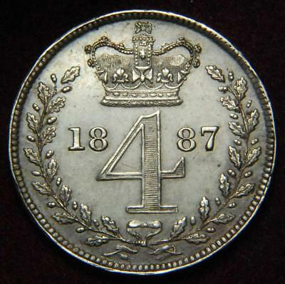 GB Victoria silver Maundy fourpence 4d 1887 - NICE!!!