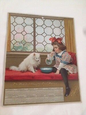 Antique Prudential Insurance Co. of America Advertising Calendar 1910 Dog Girl
