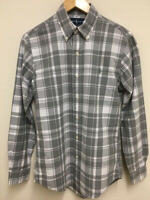 Super Cool 100% Genuine Ralph Lauren Light Grey And White Check Shirt Size Small