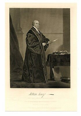 JOHN JAY, US Chief Justice Supreme Court/New York Governor, Steel Engraving 1862