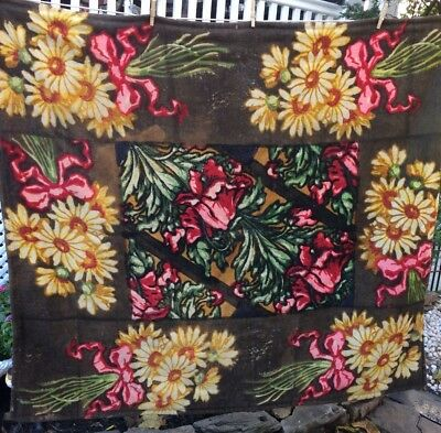 """Antique  Amish Horse Buggy Sleigh Lap Blanket Floral Print Mohair 52""""x60"""""""