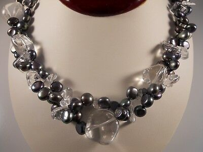 Black Freshwater Pearl And Quartz Necklace With Sterling Silver Toggle Clasp