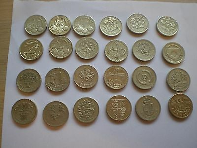Full Set of 24 old  Round £1 Pound Coins