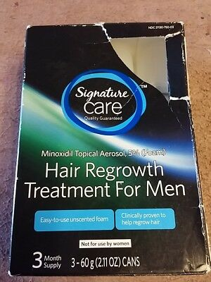 Signature Care Minoxidil 5% Hair Loss Regrowth Treatment for Men 3 Month Sealed