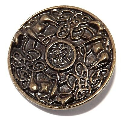 Celtic Pagan Trinity of Horses Rivet Concho (Brass Plated Pewter)