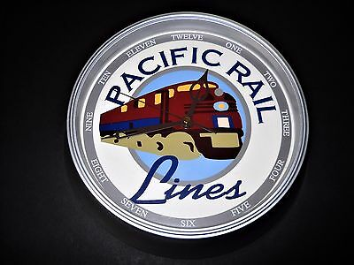 Pacific Rail Lines Round Wall Clock Battery Powered Railroad Collectible