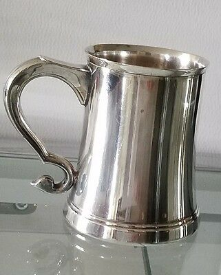 "MIDCENTURY SILVERPLATE SMALL TANKARD, MUG, CUP 3 1/4"" HIGH, by Lunt"