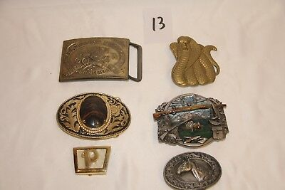 Lot of 6 Vintage Brass Belt Buckles Collectible Hard To Find Collection Rare
