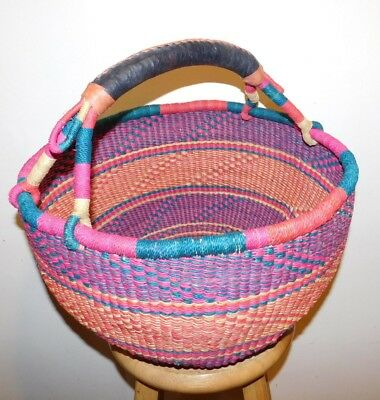Large Green, Pink, And Orange, African Bolga Basket  #39