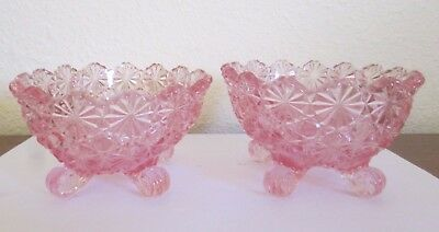 Daisy & Button, Pink Glass Footed Candle Holders, Pair, Excellent Condition
