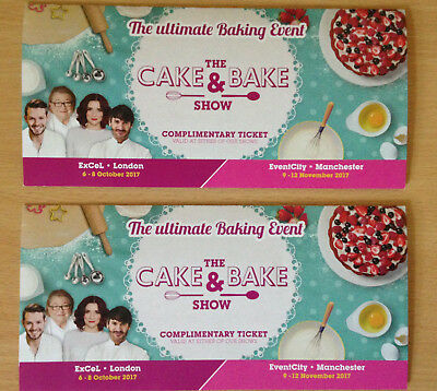 2 x Tickets to The Cake & Bake Show - Manchester - Any Day - Thu 9 to Sun 12 Nov