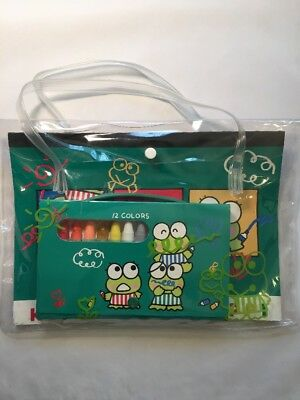 Vintage Sanrio Kero Keroppi 1992 Coloring Pad & Crayon Set In Carrying Bag