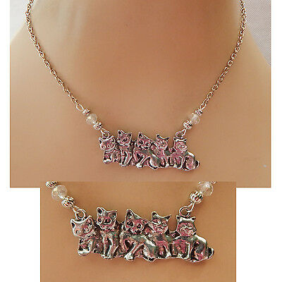 Silver Kittens in a Row Strand Necklace Jewelry Handmade New Cats Accessories