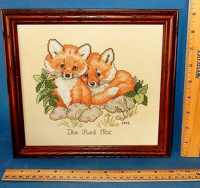 "FRAMED COUNTED CROSS STITCH FOX BABIES PICTURE 9.5"" x 10"""