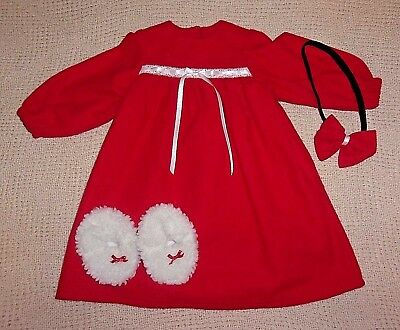 """New Bright Red Flannel Nightgown, Headband And Slippers For 23"""" My Twinn Dolls"""