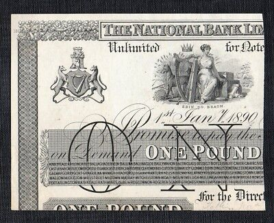 The National Bank Limited   £1 pound, 1st  January 1890  Partial  Proof,   203p