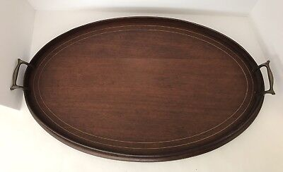 Antique Georgian Oval Flame Mahogany TrayTea Serving Brass Handles