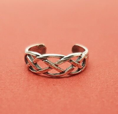 Sterling Silver Toe Ring Solid 925 Open Weave Toering 5mm wide adjustable