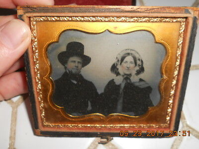 Mid 19Th Century Clear Ambrotype Man & Woman W Great Hats & Coats Early & Nice