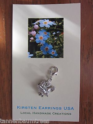 Thanksgiving Turkey 3d Charm ClipOn Silver Lobster Clasp Stocking Stuffer Small