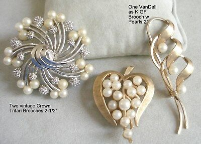 Lot of THREE Vintage Signed Crown Trifari and Van Dell Brooches