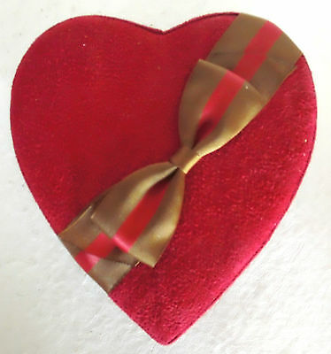 Red Suede Valentine Heart Box with Red & Brown Ribbon