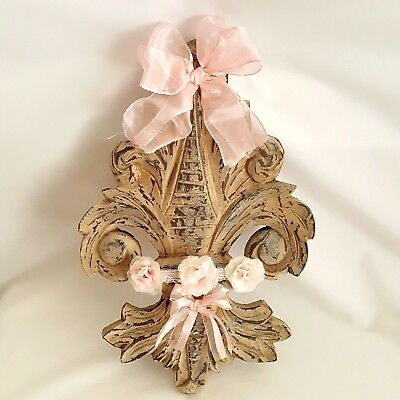 Wall Pediment Fleur De Lis Shabby Chic Roses Rustic French Country Decor Pink