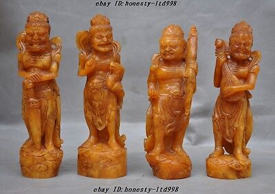 """A 16""""Rare old china shoushan stone Four big King God Bless statue seal Stamp Set"""