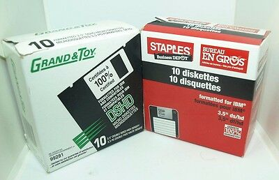 """Staples & Grand & Toy 3.5"""" Diskettes ds/hd 1.44MB IBM-Formatted 2 Boxes of 10"""