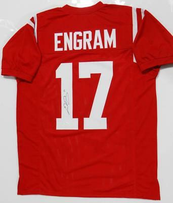 Evan Engram Autographed Red College Style Jersey - JSA Authenticated