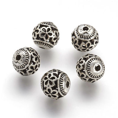 10pcs Tibetan Silver Alloy Metal Beads Round Carved Loose Spacers Craft 10x10mm