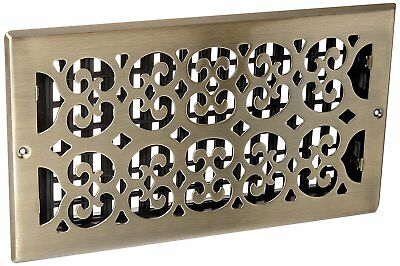 Decor Grates SP612W-A Scroll Steel Plated Antique Wall Register, 6 x 12-Inch,