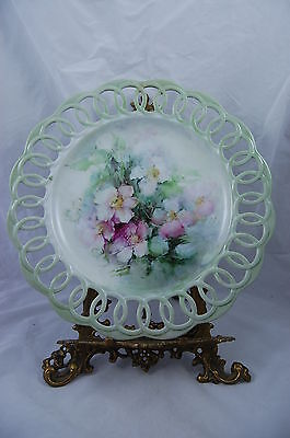 Antique Limoges Floral  Hand Painted Plate Tray Charger