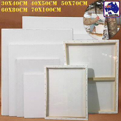 5pcs Artist Blank White Stretched Canvas Wood Frame Rect Paint Board SMUK673