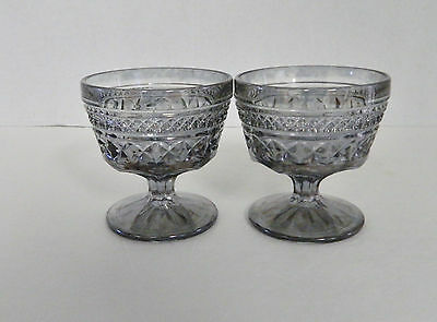 Wexford Anchor Hocking Pewter Mist Stemmed Sherbets / Dessert Dishes Qty of Two