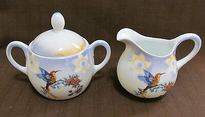 Porcelain Sugar Bowl w/ lid & Creamer Iridescent Luster Germany Bird of Paradise