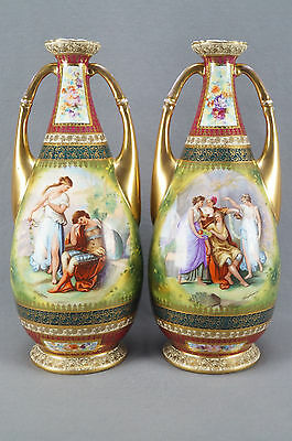 """Pair of Josef Riedl Royal Vienna Style Classical Scene 13 1/2"""" Vases 1890 - 1910"""