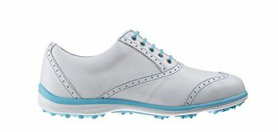 Footjoy Casual Collection, Chaussures de Golf Femme, Blanco / Azul Cian, 36.5 EU