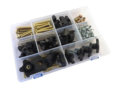 129 Piece Jig Fixture T Track Hardware Kit 5/16 18 Threads with Knobs, T Bolts,