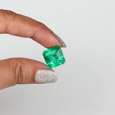 10.0 Ct Certified Natural Translucent Octagon Cut Emerald Loose Gemstones #H-557