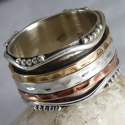 GRANULATED WAVE Size 9.25 SilverSari 3 SPIN SPINNER Fidget Ring Solid 925 Silver