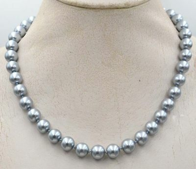 "Beautiful 8mm South Sea silver gray Shell Pearl Necklace 20"" crystal Clasp AAA+"