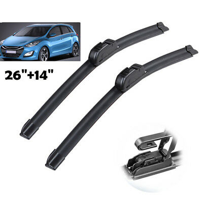 "26"" 14"" Windscreen Flat Wiper Blades Front Window Fit For Hyundai i30 13-17"