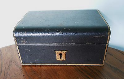 Vintage/antique Wooden/leather Victorian/edwardian Travel Jewellery Box