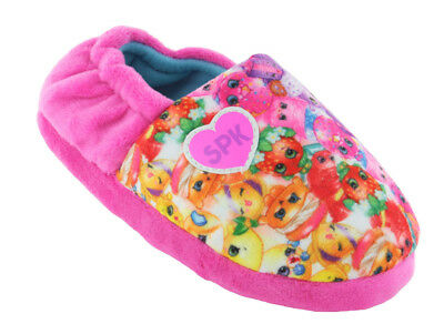 Girls Children Kids Shopkins Pink Pull On Slippers Cosy Fur Lining Character New