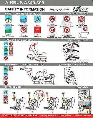 Safety Card MAHAN AIR Airbus A340-300 May 2015 * Rare* Original Iran *NEW * NEU*